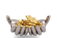 Haltenen die Stahlhände, Gold zu halten spielt auf einem weißen Hintergrund, 3D die Hauptrolle Lizenzfreies Stockfoto