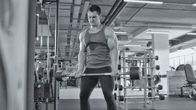 Halterofilismo no gym - homem muscular execute exercícios com os bíceps do barbell, preto e branco - ascendente próximo imagens de stock royalty free