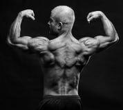 Halterofilista que dobra o bíceps foto de stock