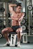 Halterofilista que exercita o tríceps com pesos Imagens de Stock