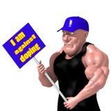 Halterofilista que guarda um cartaz caricature ilustração stock