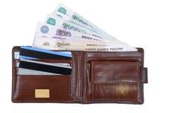 Halterung mit Geld- und Scheckkarten Lizenzfreies Stockfoto