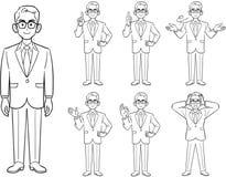 Haltung von den Geschäftsmännern, die Gläser, 7 Arten gesetzte Zeichnung tragen stock abbildung