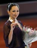 Haltungen Elizaveta TUKTAMYSHEVA mit Goldmedaille Lizenzfreies Stockfoto