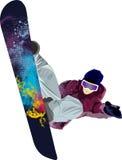 Haltungswinter-Leutetricks des Snowboarders springende Stockfotos