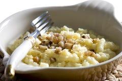 Halusky - dumplings. Halusky with cheese and bacon (Slovakian cuisine Stock Photos