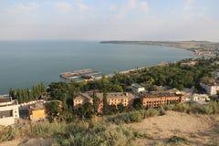 Halvön av Krim från höjd av flyget för fågel` s Arkivbild