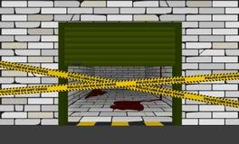 Halvöppet garage med blod inom, bifogat varningsband royaltyfria foton