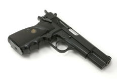 halv 9mm automatisk handeldvapen Arkivfoton