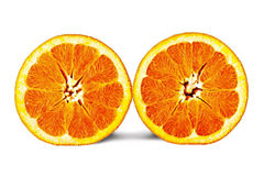 Halv apelsin två Royaltyfri Bild