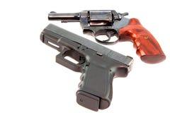 Halv automatisk pistol- och revolvertryckspruta Arkivbilder