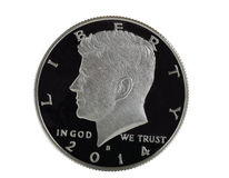Halv dollar för amerikansk silver på vit bakgrund Arkivbild