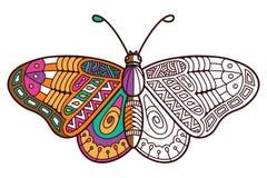 Halv färgläggning för gullig fjäril Royaltyfri Bild