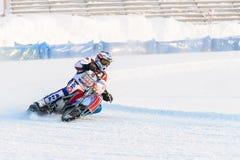 Halv-finalerna av den ryska mästerskapet i Ufa på en speedway isen i December 2016 Royaltyfria Foton