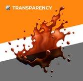 Halv-genomskinlig färgstänk för svart kaffe objekt stock illustrationer