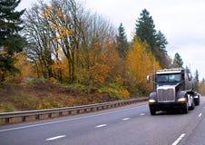 Halv lastbil för svart stor rigg som transporterar halv släpkörning för behållare Arkivbild