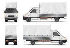 Halv lastbil som isoleras på vit Kommersiell lastlastbil Mall för vektor för leveranslastbil från sidan, baksida, främre sikt vektor illustrationer