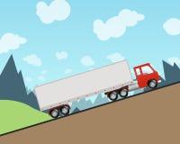 Halv lastbil som kör upp en brant kulle Stock Illustrationer