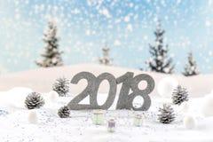 halv liter-bnner för 2018 kort på en snölasndscapebakgrund Royaltyfria Foton