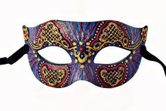 Halv maskering för brokig Venetian karneval med bandet som isoleras på vit bakgrund Royaltyfri Fotografi