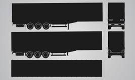 Halv släp för framdel, för baksida, för överkant och för sida för lastbilprojektion Royaltyfria Bilder