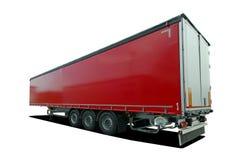 Halv släp för röd lastbil Royaltyfri Fotografi