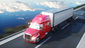 Halv släp, lastbil på vägen, huvudväg Transporter logistikbegrepp framförande 3d Arkivfoton