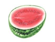 Halv vattenfärg för vattenmelon Arkivfoton
