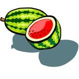 Halv vattenmelon som är hel och Arkivfoton