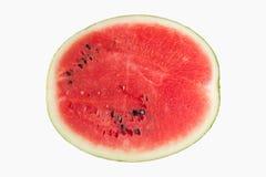 halv vattenmelonskiva som isoleras på vit bakgrund royaltyfria bilder