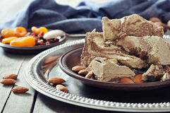 Halva with almonds Royalty Free Stock Images