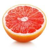 Halva av citrusfrukt för rosa grapefrukt som isoleras på vit Arkivfoton