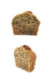 Halva av en isolerad muffin för pecannötmutter Royaltyfri Bild