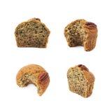 Halva av en isolerad muffin för pecannötmutter Royaltyfria Bilder