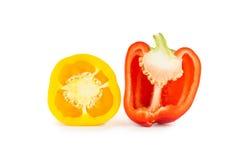 Halva av gula och röda spanska peppar royaltyfri fotografi