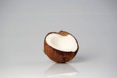 Halva av kokosnötcloseupen Royaltyfria Bilder