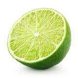 Halva av limefruktcitrusfrukt som isoleras på vit royaltyfri fotografi