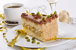 Halva cake, Kaffe and champagne Stock Photos