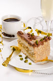 Halva cake, Kaffe and champagne Royalty Free Stock Images