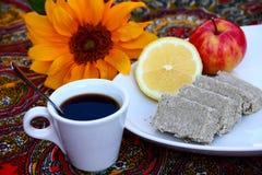 Sunflower Halva. Coffee and oriental dessert halva Stock Photos