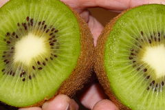 Halva cuted kiwi i detalj Royaltyfri Foto