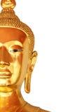 Halva den framsidacloseupbuddha statyn som isoleras på vit bakgrund Royaltyfri Bild