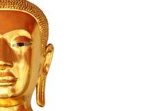 Halva den framsidacloseupbuddha statyn som isoleras på vit bakgrund Arkivfoton