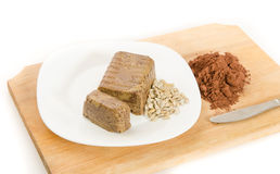 Halva dessert with cocoa and sunflower Royalty Free Stock Photo