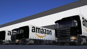 Halva lastbilar för frakter med amason com-logopäfyllning eller avlastning på lagerskeppsdockan Redaktörs- tolkning 3D royaltyfri illustrationer