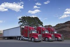 Halva lastbilar som tillsammans parkeras Royaltyfri Bild