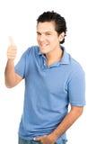 Halva latinamerikanska manliga högra tummar upp stort leende för tecken Fotografering för Bildbyråer