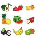 Halva många frukter Arkivfoto