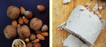 Halva and nuts on white & blue table. Black and white. Halva and nuts on table. Forest gifts shows as hazel nuts, nuts and bolts, almonds for left side and Royalty Free Stock Photo