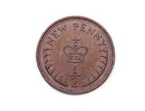 Halva per ett pund sterling för ny encentmynt som dateras 1971 Arkivfoto